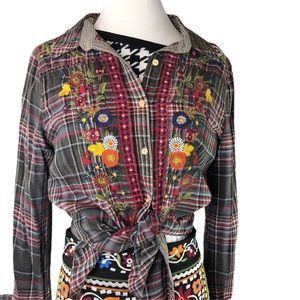 Johnny Was | 3J | Embroidered Flannel Shirt